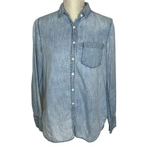J. Crew Womens Button Down Chambray Denim Linen